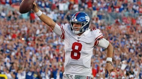 <p>               New York Giants quarterback Daniel Jones (8) runs 7-yards for a touchdown during the second half of an NFL football game against the Tampa Bay Buccaneers Sunday, Sept. 22, 2019, in Tampa, Fla. (AP Photo/Mark LoMoglio)             </p>