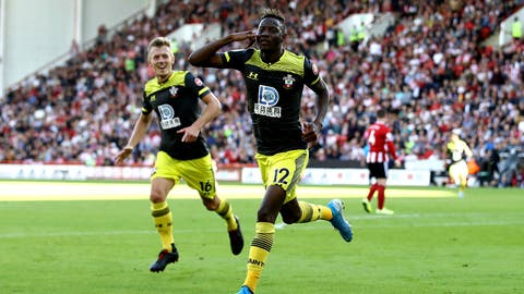 <p>               Southampton's Moussa Djenepo celebrates scoring his side's first goal of the game during their English Premier League soccer match against Sheffield United at Bramall Lane, Sheffield, England, Saturday, Sept. 14, 2019. (Tim Goode/PA via AP)             </p>