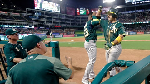 <p>               Oakland Athletics' Jurickson Profar (23) greets Ramon Laureano, right, at the top of the dugout after Laureano hit a three-run home run against the Texas Rangers during the sixth inning of a baseball game in Arlington, Texas, Friday, Sept. 13, 2019. (AP Photo/Tony Gutierrez)             </p>