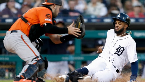 <p>               Detroit Tigers' Willi Castro slides safe into home plate against Baltimore Orioles catcher Austin Wynns on a hit from Tigers batter Victor Reyes during the fifth inning of a baseball game Saturday, Sept. 14, 2019, in Detroit. (AP Photo/Raj Mehta)             </p>