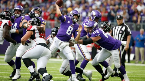 <p>               Minnesota Vikings quarterback Kirk Cousins throws a pass during the first half of an NFL football game against the Atlanta Falcons, Sunday, Sept. 8, 2019, in Minneapolis. (AP Photo/Bruce Kluckhohn)             </p>