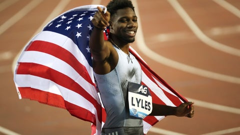 <p>               US' Noah Lyles celebrates after winning the Men's 200m during the Diamond League Memorial Van Damme athletics event at the King Baudouin stadium in Brussels, Friday, Sept. 6, 2019. (AP Photo/Francisco Seco)             </p>