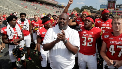 <p>               Maryland head coach Michael Locksley, center, celebrates with his team after they beat Howard 79-0 in an NCAA college football game, Saturday, Aug. 31, 2019, in College Park, Md. (AP Photo/Julio Cortez)             </p>