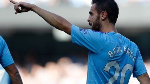 <p>               Manchester City's Bernardo Silva celebrates after scoring his sides fifth goal during the English Premier League soccer match between Manchester City and Watford at Etihad stadium in Manchester, England, Saturday, Sept. 21, 2019. (AP Photo/Rui Vieira)             </p>