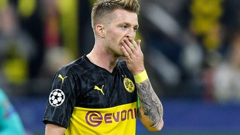 <p>               File---Picture taken on Sept. 17, 2019 shows Dortmund's Marco Reus who missed to score a penalty during the Champions League Group F soccer match between Borussia Dortmund and FC Barcelona in Dortmund, Germany. (AP Photo/Martin Meissner)             </p>