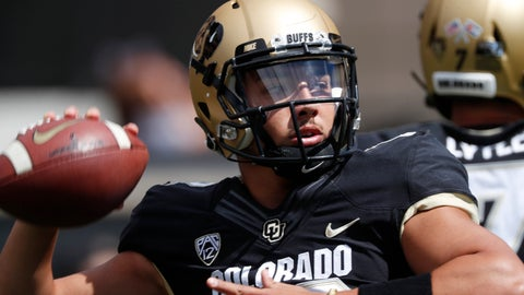 <p>               Colorado quarterback Steven Montez warms up before an NCAA college football game against Nebraska Saturday, Sept. 7, 2019, in Boulder, Colo. (AP Photo/David Zalubowski)             </p>