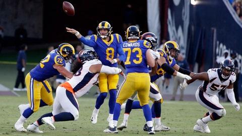 <p>               Los Angeles Rams quarterback Brandon Allen throws under pressure against the Denver Broncos during the first half of an NFL preseason football game Saturday, Aug. 24, 2019, in Los Angeles. (AP Photo/Rick Scuteri)             </p>