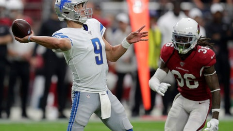 <p>               Detroit Lions quarterback Matthew Stafford (9) shows as Arizona Cardinals free safety D.J. Swearinger (36) pursues during the second half of an NFL football game, Sunday, Sept. 8, 2019, in Glendale, Ariz. (AP Photo/Darryl Webb)             </p>