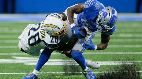 <p>               Los Angeles Chargers defensive back Brandon Facyson (28) brings Detroit Lions wide receiver Kenny Golladay (19) down after a reception in the first half of an NFL football game in Detroit, Sunday, Sept. 15, 2019. (AP Photo/Duane Burleson)             </p>