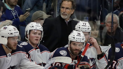 <p>               FILE - In this Jan. 8, 2019, file photo, Columbus Blue Jackets coach John Tortorella stands behind player during the first period of the team's NHL hockey game against the Tampa Bay Lightning in Tampa, Fla. Tortorella acknowledged he's carrying around a chip on his shoulder about the high-profile departures since last season and the predictions of doom. (AP Photo/Chris O'Meara, File)             </p>