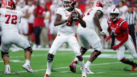 <p>               Indiana quarterback Michael Penix Jr. (9) throws against Ball State during the second half of an NCAA college football game in Indianapolis, Saturday, Aug. 31, 2019. Indiana defeated Ball State 34-24. (AP Photo/Michael Conroy)             </p>
