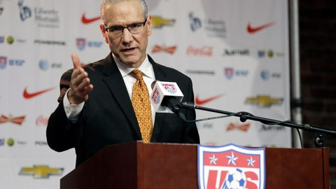 <p>               FILE - In this Nov. 13, 2015, file photo, U.S. Soccer Federation secretary general Dan Flynn speaks during a news conference in St. Louis. Flynn will retire as chief executive officer and secretary general of the U.S. Soccer Federation on Sept. 16. (AP Photo/Jeff Roberson, File)             </p>