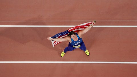 <p>               Deanna Price, of the United States, celebrates winning the gold medal for the women's hammer throw at the World Athletics Championships in Doha, Qatar, Saturday, Sept. 28, 2019. (AP Photo/Morry Gash)             </p>
