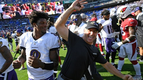 <p>               Baltimore Ravens quarterback Lamar Jackson, left, celebrates with head coach John Harbaugh after an NFL football game against the Arizona Cardinals, Sunday, Sept. 15, 2019, in Baltimore. Baltimore won 23-17. (AP Photo/Nick Wass)             </p>