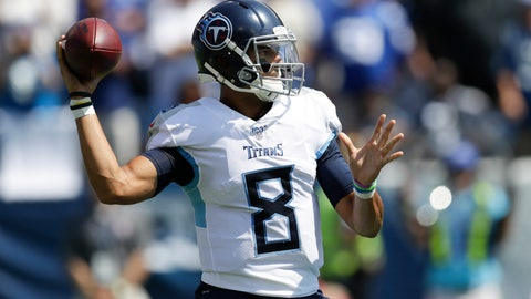 <p>               Tennessee Titans quarterback Marcus Mariota passes against the Indianapolis Colts in the first half of an NFL football game Sunday, Sept. 15, 2019, in Nashville, Tenn. (AP Photo/James Kenney)             </p>