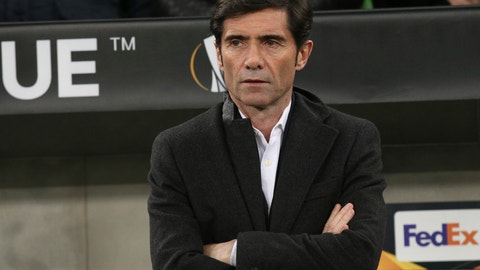 <p>               FILE - In this March 14, 2019, file photo Valencia coach Marcelino García Toral  watches from the sideline during a Europa League round of 16, second leg soccer match against FC Krasnodar  in Krasnodar, Russia. Valencia fired coach Marcelino García Toral on Wednesday, Sept. 11, 2019, three games into the Spanish league season, hiring former Real Madrid and Barcelona player Albert Celades as his replacement. (AP Photo/Vitaliy Timkiv, File)             </p>