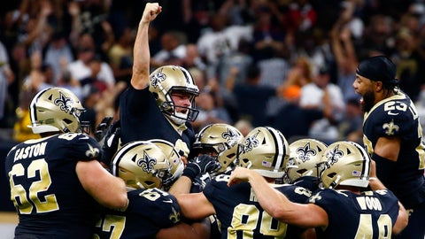 <p>               New Orleans Saints kicker Wil Lutz celebrates his game winning 58-yard field goal at the end of regulation in the second half of an NFL football game against the Houston Texans in New Orleans, Monday, Sept. 9, 2019. The Saints won 30-28. (AP Photo/Butch Dill)             </p>