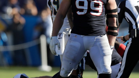 <p>               Houston Texans defensive end J.J. Watt celebrates after sacking Los Angeles Chargers quarterback Philip Rivers during the second half of an NFL football game Sunday, Sept. 22, 2019, in Carson, Calif. (AP Photo/Marcio Jose Sanchez)             </p>