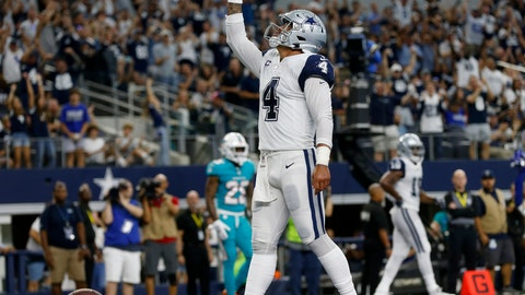 <p>               Dallas Cowboys quarterback Dak Prescott (4) celebrates his touchdown run against the Miami Dolphins in the second half of an NFL football game in Arlington, Texas, Sunday, Sept. 22, 2019. (AP Photo/Ron Jenkins)             </p>