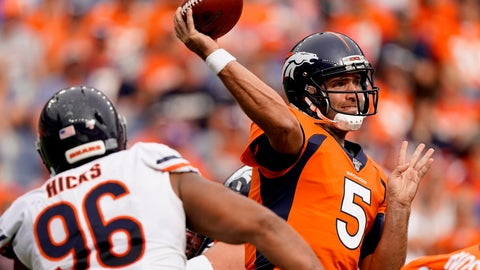 <p>               Denver Broncos quarterback Joe Flacco (5) throws under pressure from Chicago Bears defensive tackle Akiem Hicks (96) during the second half of an NFL football game, Sunday, Sept. 15, 2019, in Denver. (AP Photo/Jack Dempsey)             </p>