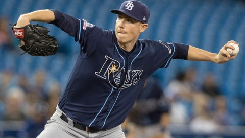 <p>               Tampa Bay Rays starting pitcher Ryan Yarbrough throws against the Toronto Blue Jays during the second inning of a baseball game in Toronto Saturday Sept. 28, 2019. (Fred Thornhill/The Canadian Press via AP)             </p>