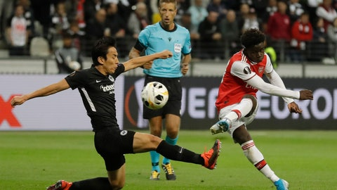 <p>               Arsenal's Bukayo Saka, right, scores his side's second goal during the Europa League Group F soccer match between Eintracht Frankfurt and Arsenal in the Commerzbank Arena in Frankfurt, Germany, Thursday, Sept. 19, 2019. (AP Photo/Michael Probst)             </p>