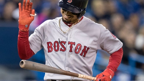 <p>               Boston Red Sox's Mookie Betts reacts after popping out in the third inning against the Toronto Blue Jays in a baseball game Thursday, Sept. 12, 2019, in Toronto. (Fred Thornhill/The Canadian Press via AP)             </p>
