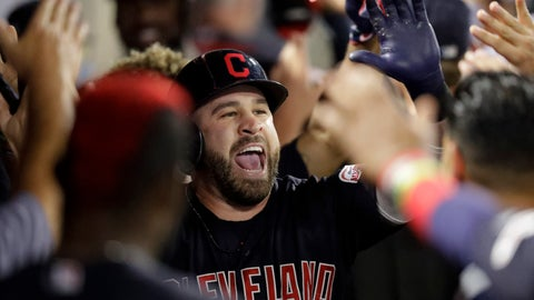 <p>               Cleveland Indians' Jason Kipnis celebrates in the dugout after a two-run home run against the Los Angeles Angels during the second inning of a baseball game in Anaheim, Calif., Monday, Sept. 9, 2019. (AP Photo/Chris Carlson)             </p>