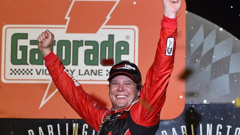 <p>               Erik Jones celebrates his victory after a NASCAR Cup Series auto race on Sunday, Sept. 1, 2019, at Darlington Raceway in Darlington, S.C. Jones held off Joe Gibbs Racing teammate Kyle Busch to win the rain-delayed Southern 500 that ended early Monday morning. (AP Photo/Richard Shiro)             </p>
