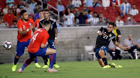 <p>               Argentina's Paulo Dybala, right, takes a shot on goal against Chile during the first half of an international friendly soccer match Thursday, Sept. 5, 2019, in Los Angeles. (AP Photo/Marcio Jose Sanchez)             </p>
