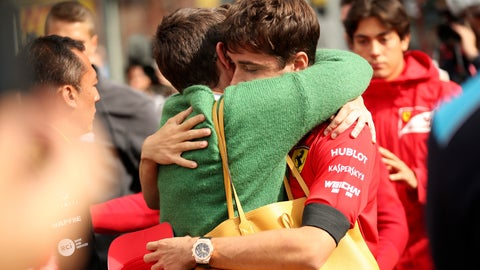 <p>               The mother of Anthoine Hubert embraces Ferrari driver Charles Leclerc of Monaco after a moment of silence for Formula 2 driver Anthoine Hubert at the Belgian Formula One Grand Prix circuit in Spa-Francorchamps, Belgium, Sunday, Sept. 1, 2019. The 22-year-old Hubert died following an estimated 160 mph (257 kph) collision on Lap 2 at the high-speed Spa-Francorchamps track, which earlier Saturday saw qualifying for Sunday's Formula One race. (AP Photo/Francisco Seco)             </p>
