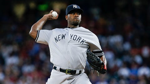 <p>               New York Yankees starting pitcher Luis Severino (40) throws during the first inning of a baseball game against the Texas Rangers, Saturday, Sept. 28, 2019, in Arlington, Texas. (AP Photo/Brandon Wade)             </p>