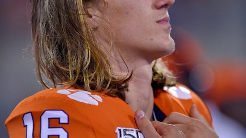 <p>               Clemson quarterback Trevor Lawrence watches from the sideline during the second half of the team's NCAA college football game against Charlotte on Saturday, Sept. 21, 2019, in Clemson, S.C. (AP Photo/Richard Shiro)             </p>