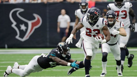 <p>               Houston Texans running back Carlos Hyde (23) runs past Jacksonville Jaguars middle linebacker Myles Jack (44) during the first half of an NFL football game Sunday, Sept. 15, 2019, in Houston. (AP Photo/David J. Phillip)             </p>
