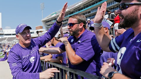 <p>               Kansas State head coach Chris Klieman is congratulated by fans following their NCAA college football game win 31-24 over Mississippi State in Starkville, Miss., Saturday, Sept. 14, 2019. (AP Photo/Rogelio V. Solis)             </p>