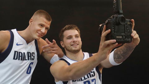 <p>               Dallas Mavericks Luka Doncic (77) of Slovenia and teammate Kristaps Porzingis of Latvia make a photo of themselves during an NBA basketball media day in Dallas, Monday, Sept. 30, 2019. (AP Photo/LM Otero)             </p>