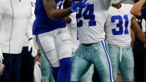 <p>               New York Giants wide receiver Cody Latimer (12) catches a pass in front of Dallas Cowboys cornerback Chidobe Awuzie (24) in the second half of a NFL football game in Arlington, Texas, Sunday, Sept. 8, 2019. (AP Photo/Michael Ainsworth)             </p>
