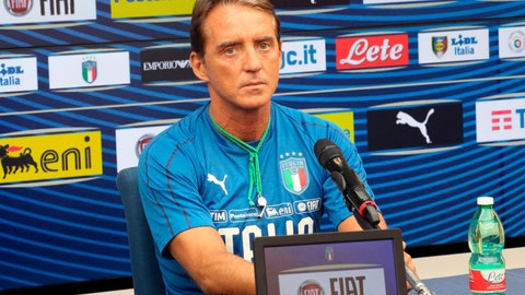 <p>               Italy coach Roberto Mancini meets the media during a press conference ahead of Thursday's Euro 2020, group J, qualification soccer match against Armenia, in Bologna, Italy, Monday, Sept. 2, 2019. (Giorgio Benvenuti/ANSA via AP)             </p>