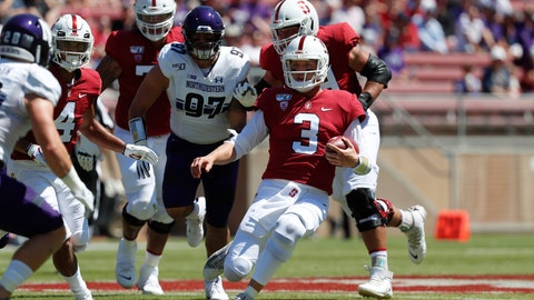 <p>               Stanford quarterback K.J. Costello (3) runs with the ball against Northwestern defensive lineman Joe Gaziano (97) in the first quarter of an NCAA college football game in Stanford, Calif., Saturday, Aug. 31, 2019. (AP Photo/Josie Lepe)             </p>