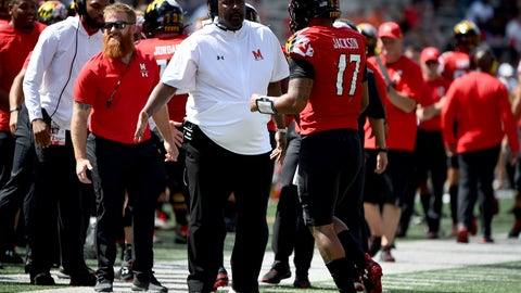 <p>               Maryland head coach Michael Locksley celebrates with quarterback Josh Jackson (17) after scoring a touchdown against Syracuse during the second half of an NCAA college football game, Saturday, Sept. 7, 2019, in College Park, Md. (AP Photo/Will Newton)             </p>