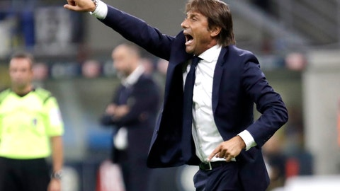 <p>               Inter Milan's head coach Antonio Conte gestures during a Serie A soccer match between Inter Milan and Udinese, at the San Siro stadium in Milan, Italy, Saturday, Sept. 14, 2019. (AP Photo/Luca Bruno)             </p>