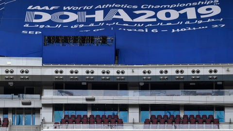 <p>               A giant air conditioning cools the Khalifa International Stadium prior the start of the World Athletics Championships in Doha, Qatar, Wednesday, Sept. 25, 2019. (AP Photo/Martin Meissner)             </p>