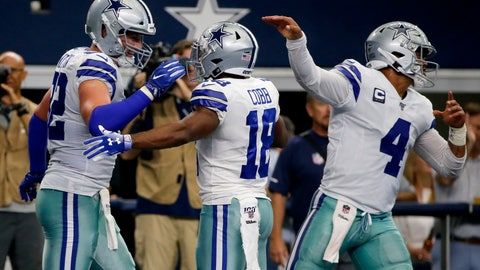 <p>               Dallas Cowboys' Jason Witten (82), Randall Cobb (18) and Dak Prescott (4) celebrate a touchdown catch by Witten in the first half of a NFL football game against the New York Giants in Arlington, Texas, Sunday, Sept. 8, 2019. (AP Photo/Michael Ainsworth)             </p>