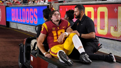 <p>               Southern California quarterback JT Daniels is carted off the field after being injured during the first half of an NCAA college football game against Fresno State Saturday, Aug. 31, 2019, in Los Angeles. (AP Photo/Mark J. Terrill)             </p>