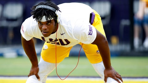 <p>               FILE - In this Oct. 20, 2018, file photo, LSU offensive tackle Saahdiq Charles (77) is shown before an NCAA college football game, in Baton Rouge, La. LSU coach Ed Orgeron says projected starting left tackle Saahdiq Charles and pass-rushing linebacker Michael Divinity Jr. are set to play when the sixth-ranked Tigers visit No. 9 Texas on Saturday. (AP Photo/Tyler Kaufman, File)             </p>