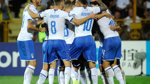 <p>               Italy players celebrate after Italy's Andrea Belotti scored his side's opening goal during the Euro 2020 group J qualifying soccer match between Armenia and Italy at the Vazgen Sargsyan Republican stadium in Yerevan, Armenia, Thursday, Sept. 5, 2019. (AP Photo/Hakob Berberyan)             </p>