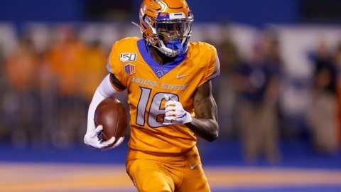 <p>               Boise State's John Hightower (16) looks upfield during a long kickoff return for touchdown during the first half of an NCAA college football game against Portland State on Saturday, Sept. 14, 2019, in Boise, Idaho. (AP Photo/Steve Conner)             </p>