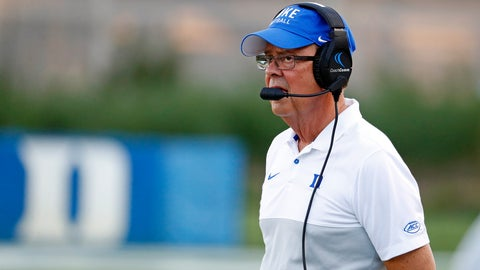 <p>               Duke head coach David Cuttcliffe looks from the sidelines during the first half of an NCAA college football game against the North Carolina A&T in Durham, N.C., Saturday, Sept. 7, 2019. (AP Photo/Karl B DeBlaker)             </p>