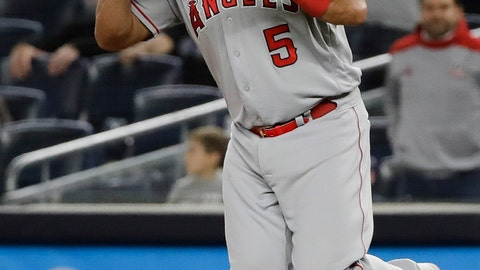 <p>               Los Angeles Angels first baseman Albert Pujols celebrates after the Angels' 3-2 win in a baseball game against the New York Yankees on Wednesday, Sept. 18, 2019, in New York. (AP Photo/Frank Franklin II)             </p>