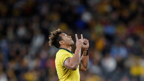<p>               Australia's Will Genia points upwards as he leaves the field during their rugby union test match against Samoa in Sydney, Saturday, Sept. 7, 2019. (AP Photo/Rick Rycroft)             </p>